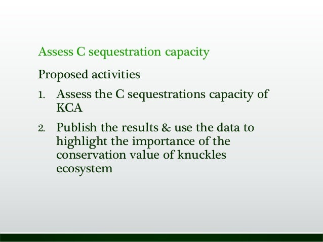 Assess C sequestration capacity Proposed activities 1. Assess the C sequestrations capacity of KCA 2. Publish the results ...