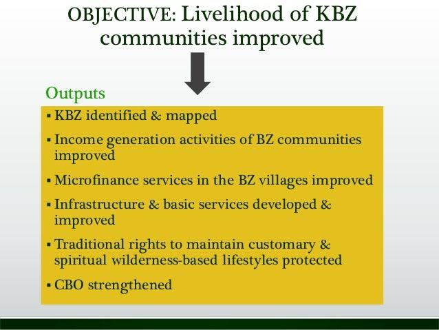 OBJECTIVE: Livelihood of KBZ communities improved  KBZ identified & mapped  Income generation activities of BZ communiti...