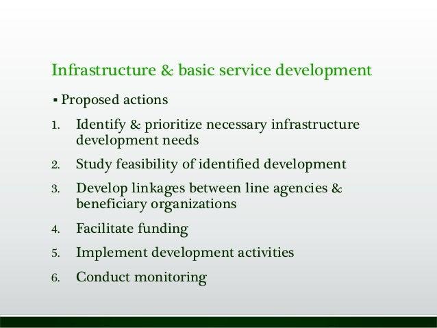 Infrastructure & basic service development  Proposed actions 1. Identify & prioritize necessary infrastructure developmen...