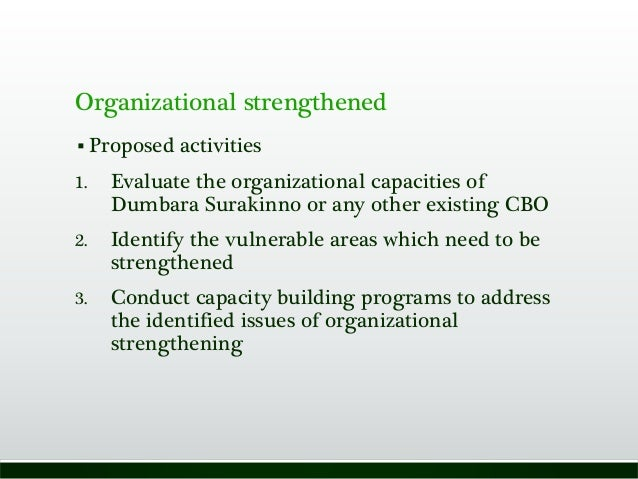 Organizational strengthened  Proposed activities 1. Evaluate the organizational capacities of Dumbara Surakinno or any ot...