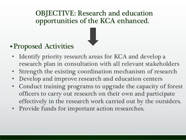 OBJECTIVE: Research and education opportunities of the KCA enhanced. Proposed Activities • Identify priority research are...