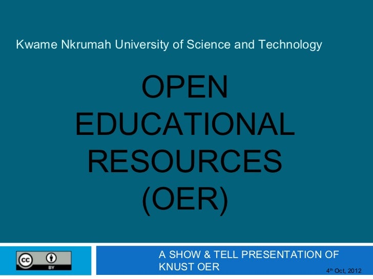Kwame Nkrumah University of Science and Technology             OPEN         EDUCATIONAL          RESOURCES             (OE...