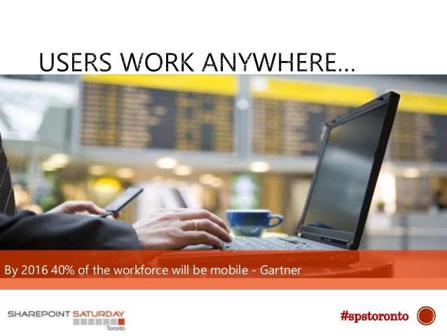 By 2016 40% of the workforce will be mobile - Gartner #spstoronto
