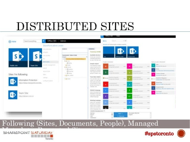 """ Users can now click on """"follow"""" both on-Premise and in Office 365 and see them all from the App-Launcher #spstoronto"""