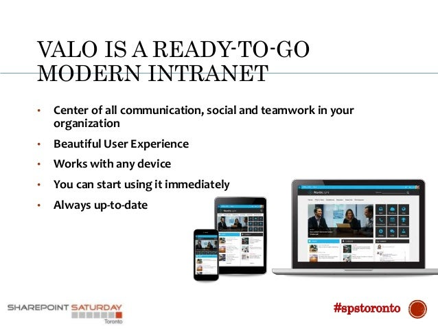 VALO IS A READY-TO-GO MODERN INTRANET • Center of all communication, social and teamwork in your organization • Beautiful ...