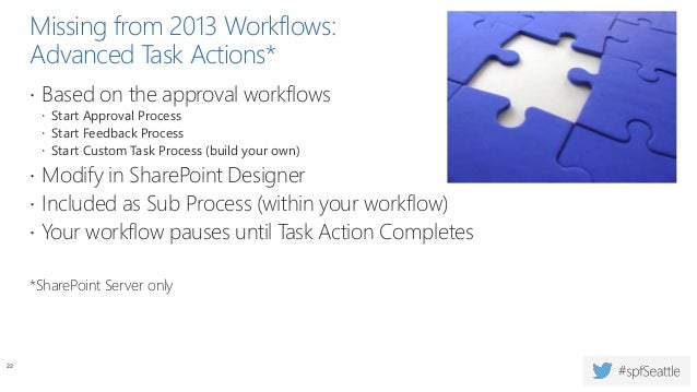 Missing from 2013 Workflows: Permission-Related Actions  Add List Item Permissions  Inherit List Item Parent Permissions...