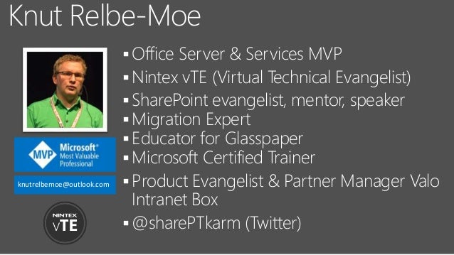 Office Server & Services MVP Nintex vTE (Virtual Technical Evangelist) SharePoint evangelist, mentor, speaker Migratio...