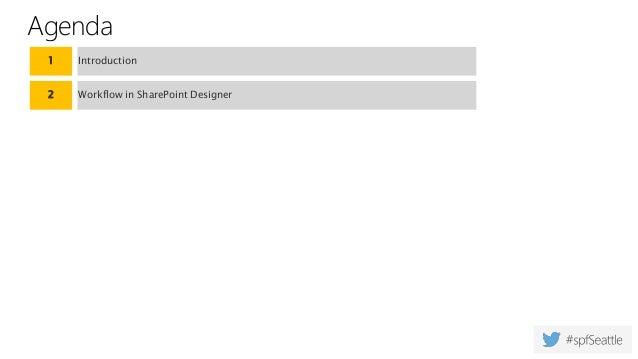 Agenda 1 Introduction 2 Workflow in SharePoint Designer
