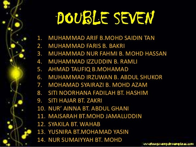 DOUBLE SEVEN1.    MUHAMMAD ARIF B.MOHD SAIDIN TAN2.    MUHAMMAD FARIS B. BAKRI3.    MUHAMMAD NUR FAHMI B. MOHD HASSAN4.   ...