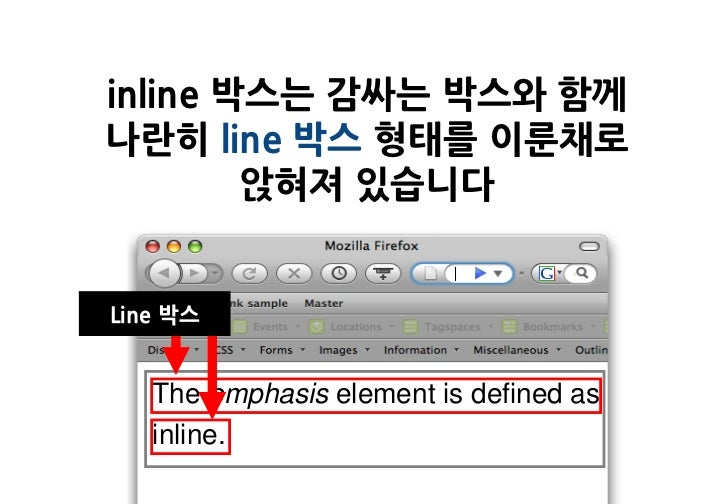 inline 박스는 감싸는 박스와 함께나란히 line 박스 형태를 이룬채로        앉혀져 있습니다Line 박스   The emphasis element is defined as   inline.