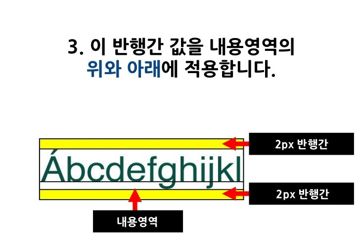 3. 이 반행간 값을 내용영역의   위와 아래에 적용합니다.               2px 반행간               2px 반행간   내용영역