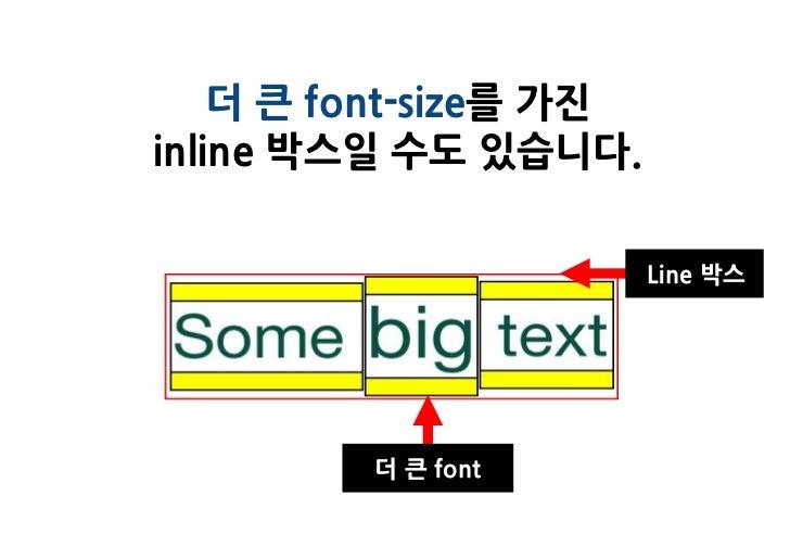 더 큰 font-size를 가진inline 박스일 수도 있습니다.                        Line 박스         더 큰 font