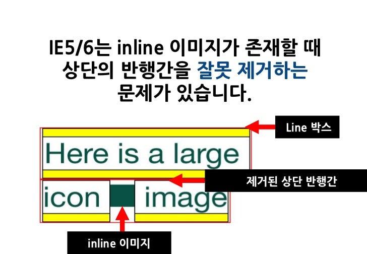 IE5/6는 inline 이미지가 존재할 때  상단의 반행간을 잘못 제거하는       문제가 있습니다.                     Line 박스                 제거된 상단 반행간   inline...