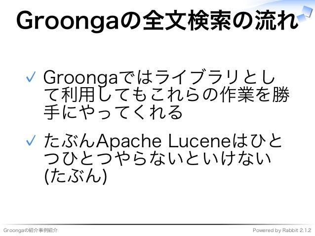 Groongaの紹介事例紹介 Powered�by�Rabbit�2.1.2 Groongaの全⽂検索の流れ Groongaではライブラリとし て利用してもこれらの作業を勝 ⼿にやってくれる ✓ たぶんApache�Luceneはひと つひとつ...