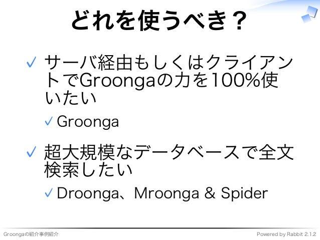 Groongaの紹介事例紹介 Powered�by�Rabbit�2.1.2 どれを使うべき? サーバ経由もしくはクライアン トでGroongaの⼒を100%使 いたい Groonga✓ ✓ 超大規模なデータベースで全⽂ 検索したい Droon...