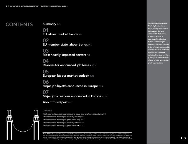 2 | Employment RestructurinG report | European union edition Q3 2012contents                                Summary       ...