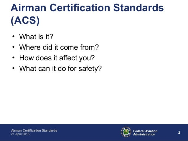 Airmen Certification Standards by Dr. Janeen Kochan