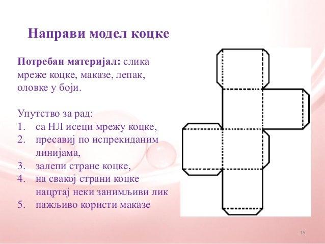 Направи модел коцкеПотребан материјал: сликамреже коцке, маказе, лепак,оловке у боји.Упутство за рад:1. са НЛ исеци мрежу ...