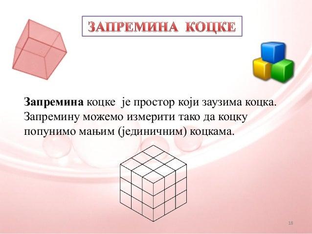 Запремина коцке је простор који заузима коцка.Запремину можемо измерити тако да коцкупопунимо мањим (јединичним) коцкама.18