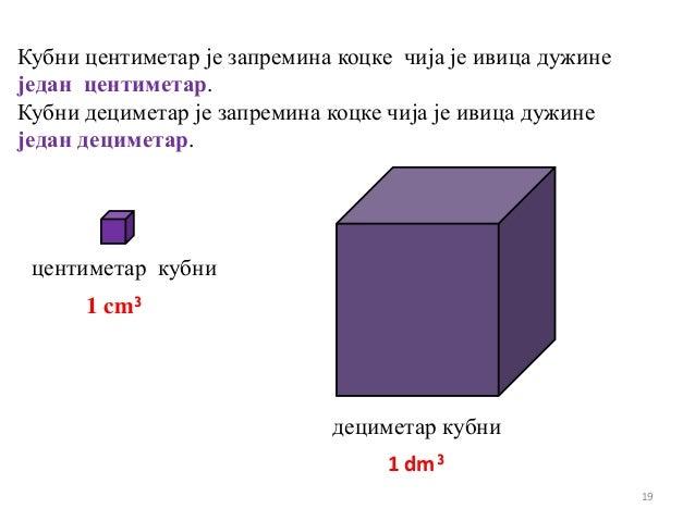 Кубни центиметар је запремина коцке чија је ивица дужинеједан центиметар.Кубни дециметар је запремина коцке чија је ивица ...