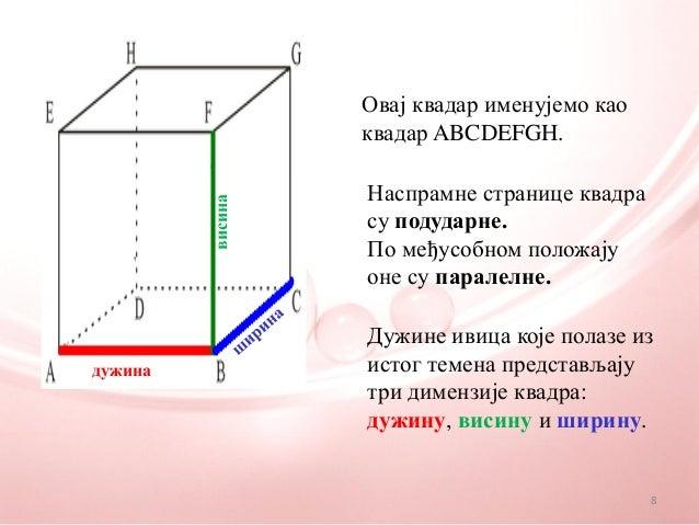 Овај квадар именујемо каоквадар ABCDEFGH.Наспрамне странице квадрасу подударне.По међусобном положајуоне су паралелне.Дужи...
