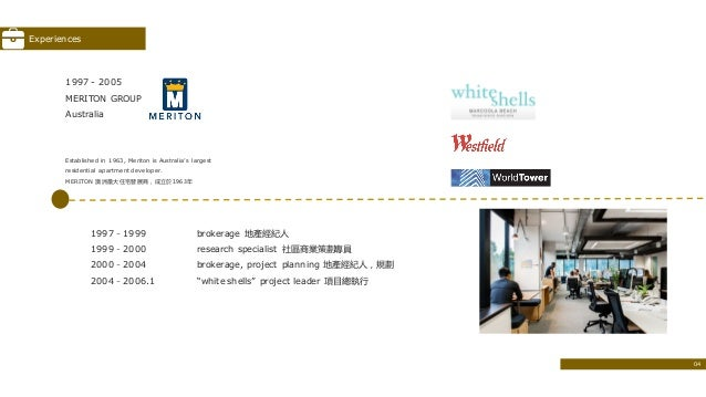1997 - 2005 MERITON GROUP Australia Established in 1963, Meriton is Australia's largest residential apartment developer. M...