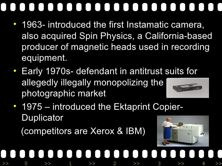 <ul><li>1963- introduced the first Instamatic camera, also acquired Spin Physics, a California-based producer of magnetic ...