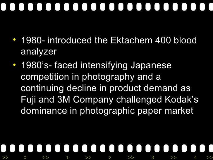<ul><li>1980- introduced the Ektachem 400 blood analyzer </li></ul><ul><li>1980's- faced intensifying Japanese competition...
