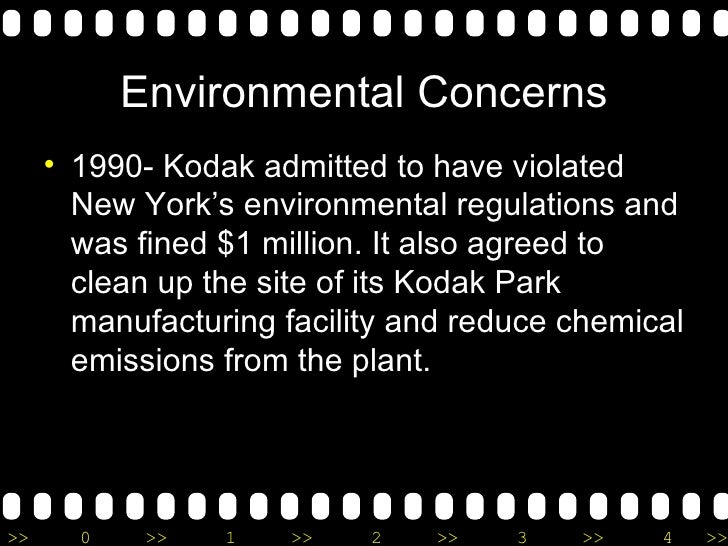 <ul><li>1990- Kodak admitted to have violated New York's environmental regulations and was fined $1 million. It also agree...