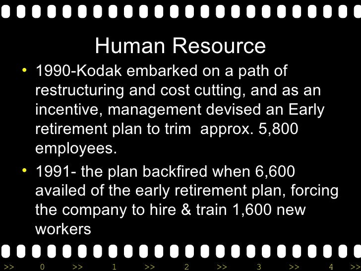 Human Resource <ul><li>1990-Kodak embarked on a path of restructuring and cost cutting, and as an incentive, management de...