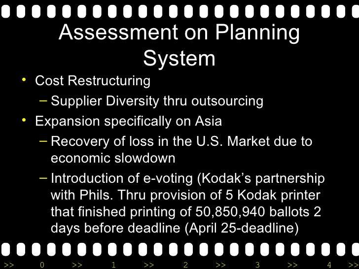 Assessment on Planning System <ul><li>Cost Restructuring </li></ul><ul><ul><li>Supplier Diversity thru outsourcing </li></...