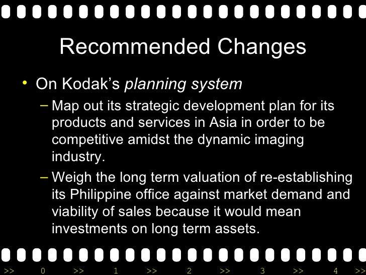 Recommended Changes <ul><li>On Kodak's  planning system </li></ul><ul><ul><li>Map out its strategic development plan for i...