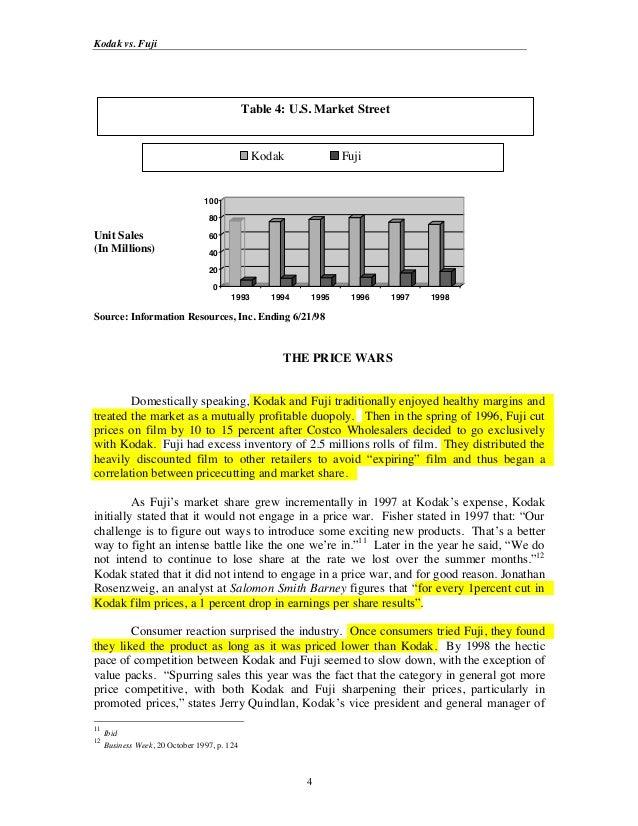 Kodak vs. Fuji                                              Table 4: U.S. Market Street                                   ...