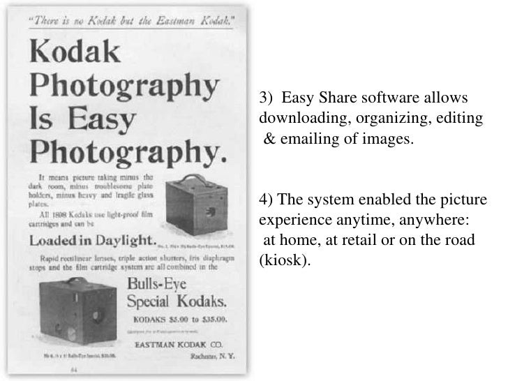 3)  Easy Share software allows downloading, organizing, editing & emailing of images.4) The system enabled the picture exp...