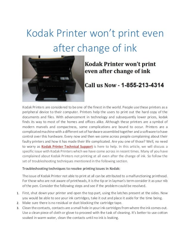 kodak printer won t print even after change of ink