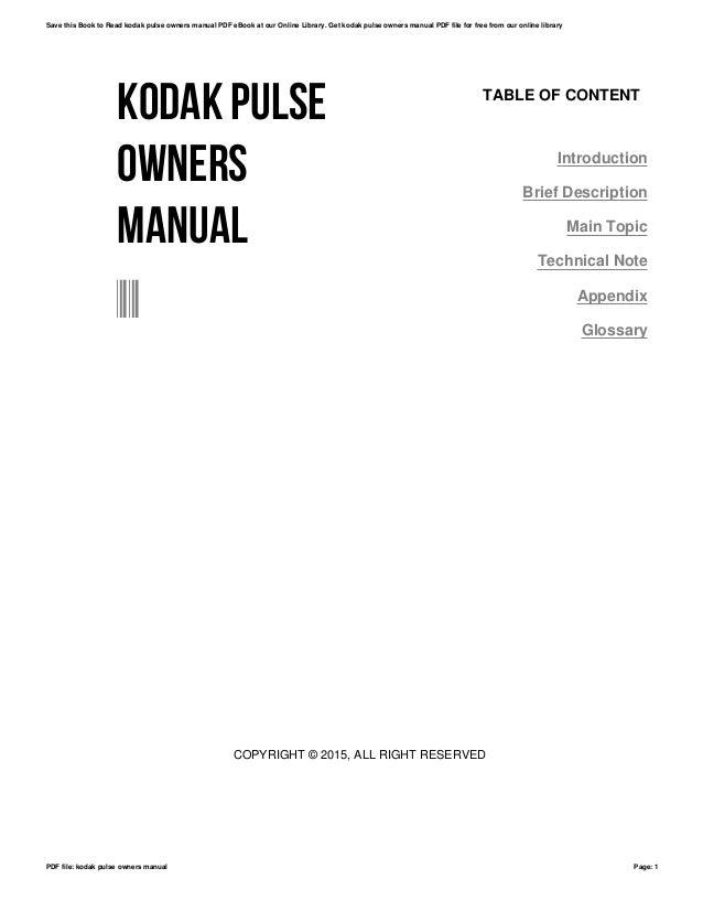 kodak pulse owners manual rh slideshare net Manual Pulse Generator Handwheel Hisense Pulse Manual