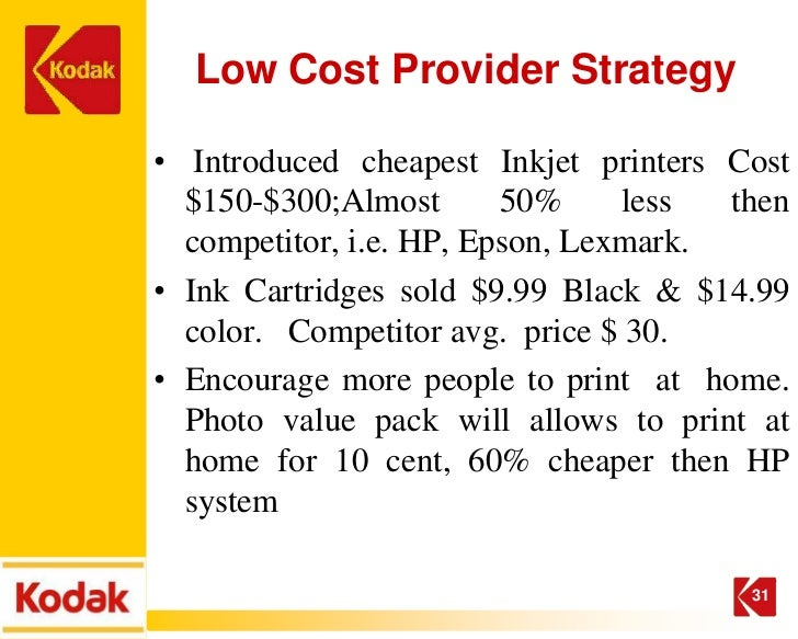 kodak strategy Kodak's last chance for survival ~ a recommendation on strategic direction foreword during 2011, kodak was under intense pressure to survive in the digital imaging business.