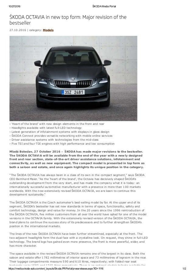 2017 Skoda Octavia facelift - Press Release