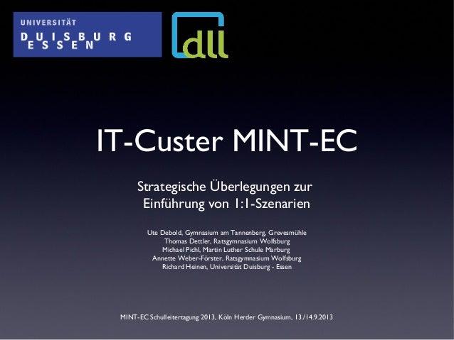 IT-Custer MINT-EC Strategische Überlegungen zur Einführung von 1:1-Szenarien Ute Debold, Gymnasium am Tannenberg, Grevesmü...