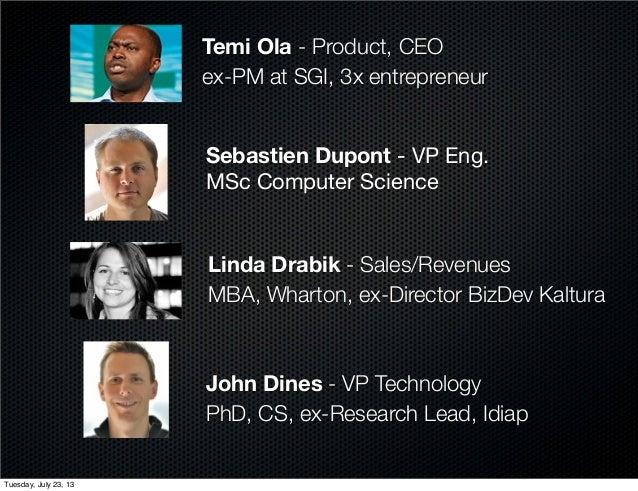 John Dines - VP Technology PhD, CS, ex-Research Lead, Idiap Linda Drabik - Sales/Revenues MBA, Wharton, ex-Director BizDev...
