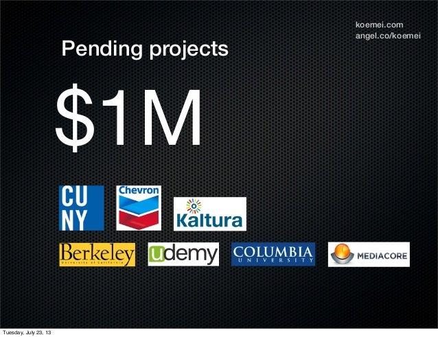 angel.co/koemei koemei.com $1M Pending projects Tuesday, July 23, 13