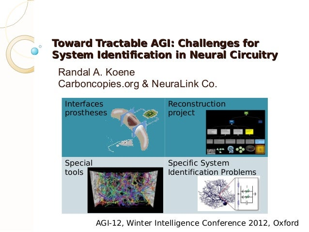 Toward Tractable AGI: Challenges forSystem Identification in Neural Circuitry Randal A. Koene Carboncopies.org & NeuraLink...