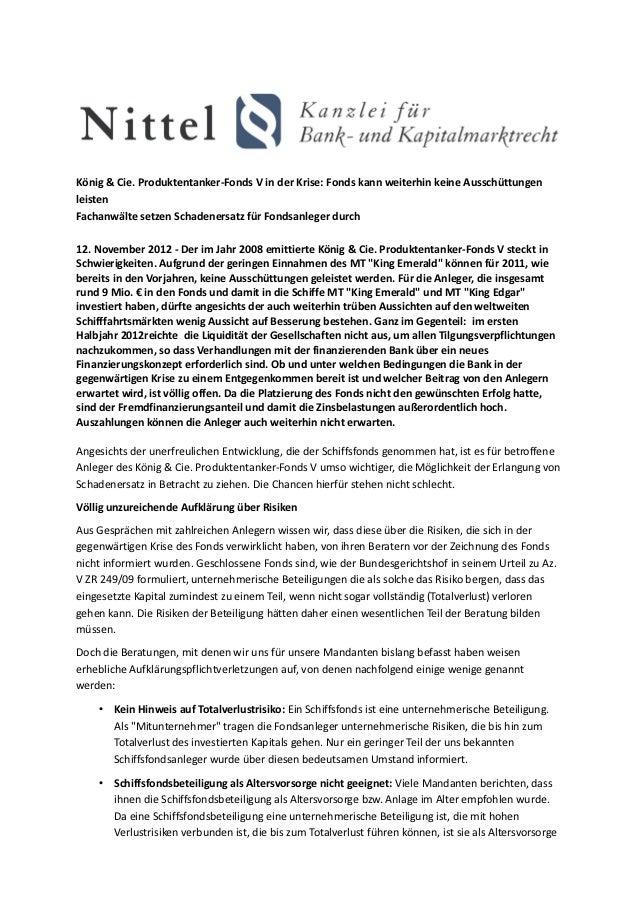 König & Cie. Produktentanker-Fonds V in der Krise: Fonds kann weiterhin keine AusschüttungenleistenFachanwälte setzen Scha...