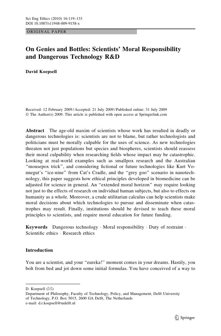 Sci Eng Ethics (2010) 16:119–133DOI 10.1007/s11948-009-9158-xORIGINAL PAPEROn Genies and Bottles: Scientists' Moral Respon...