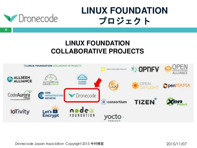 LINUX FOUNDATION プロジェクト 2015/11/07Dronecode Japan Association Copyright 2015 今村博宣 4 LINUX FOUNDATION COLLABORATIVE PROJECTS