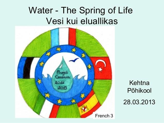 Water - The Spring of Life   Vesi kui eluallikas                             Kehtna                            Põhikool   ...