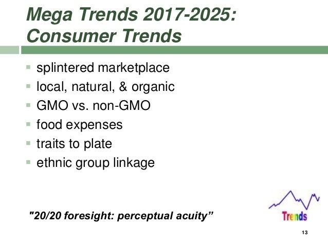 Mega Trends 2017-2025: Consumer Trends  splintered marketplace  local, natural, & organic  GMO vs. non-GMO  food expen...