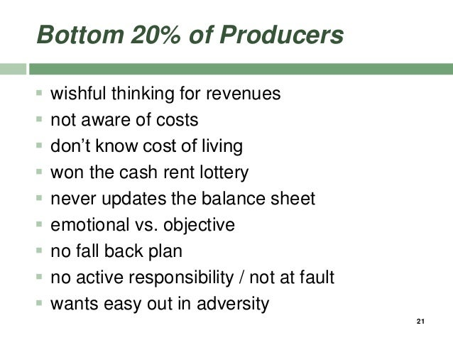 Bottom 20% of Producers  wishful thinking for revenues  not aware of costs  don't know cost of living  won the cash re...