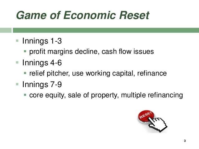 Game of Economic Reset  Innings 1-3  profit margins decline, cash flow issues  Innings 4-6  relief pitcher, use workin...