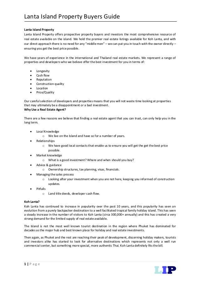 Lanta Island Property Buyers Guide 1 | P a g e Lanta Island Property Lanta Island Property offers prospective property buy...